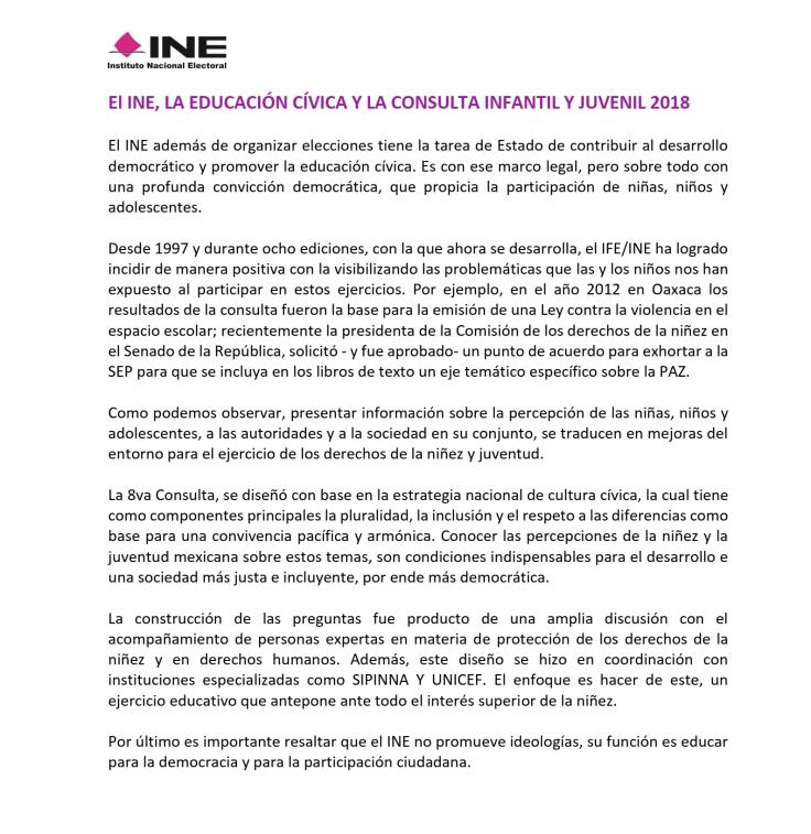 Comunicado oficial del INE aclarando sobre el contenido de las boletas de la Consulta Infantil y Juvenil 2018