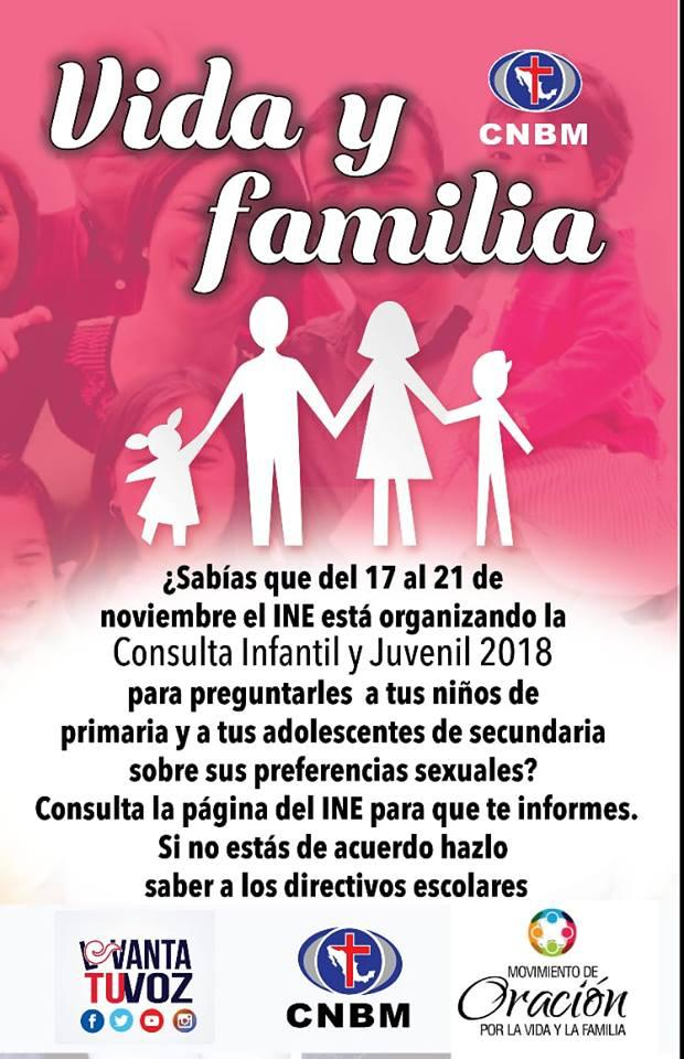 Cartel digital de grupos religiosos desinformando sobre la Consulta Infantil y Juvenil 2018