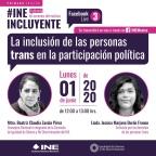 """[Video] 01/06/2020 (12:00 hrs) """"La inclusión de las personas #trans en la participación política"""" @JessicaMarjane y @CZavalaP organizado por @INEMexico"""